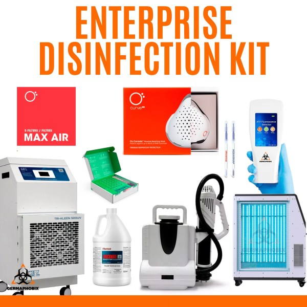 Enterprise Disinfection Kit The Enterprise Disinfection Kit is ideal for large properties that need to cover all of their bases such as hospitals, schools and universities, government institutions and more. This package includes a complete hospital-grade air purification system and air quality monitor, an electrostatic backpack sprayer and ten cases of EPA-approved Shockwave disinfectant. Optional add-ons available include the Phylagen Surface™ SARS-CoV-2 test kit, the Germ Detective ATP Bacteria Meter, The Neutralizer UV Light Sterilizer, and O2 Curve Respirators and filters.