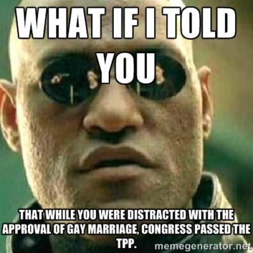 Que pasa si te digo que mientras te entretenías con el matrimonio gay, el congreso aprobó el TPP