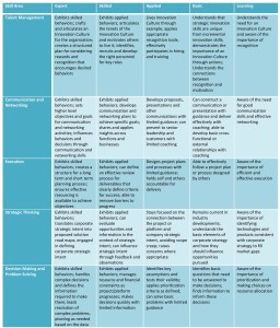 """In order to best assess the gaps in any one of these Skill Areas, there are five levels of Competence defined is shown in the """"Competencies Versus Skill Area Matrix"""" figure."""