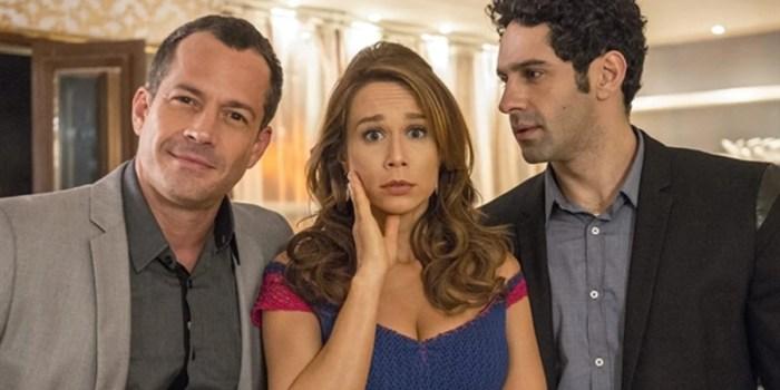 Apolo (Malvino Salvador), Tancinha (Mariana Ximenes) e Beto (João Baldasserini) em Haja Coração (Foto: Globo/Renato Rocha Miranda)