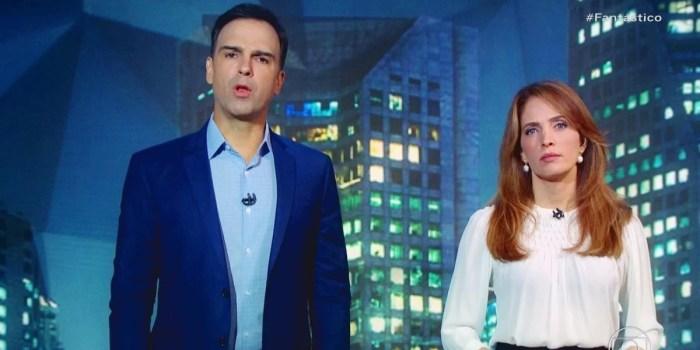 Tadeu Schmidt e Poliana Abritta no Fantástico; programa quebrou regra da Globo (Foto: Reprodução/Globo)