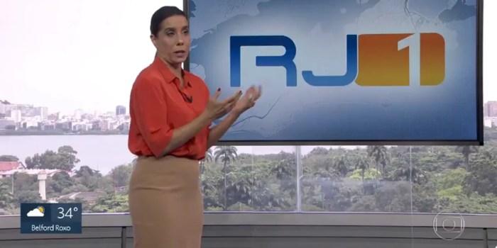 Monica Teixeira lamenta invasão de manifestante durante o RJ1 (Foto: Reprodução/Globo)