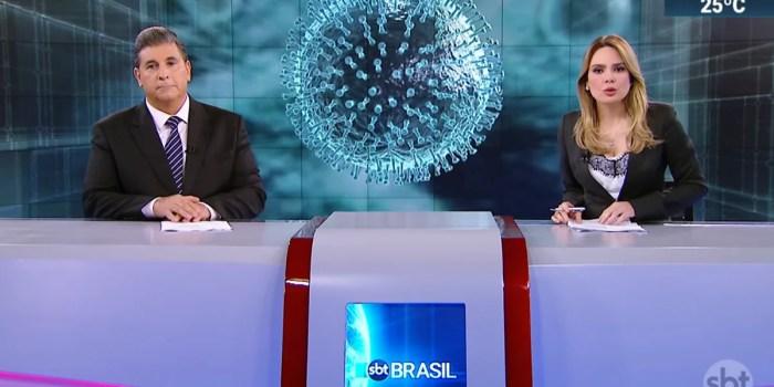 Carlos Nascimento e Rachel Sheherazade no SBT Brasil; ambos não tiveram contrato renovado (Foto: Reprodução)