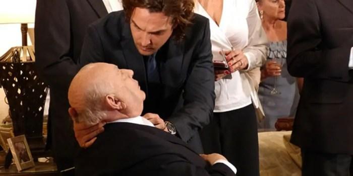 Dionísio passa mal após ter segredo revelado em Flor do Caribe (Foto: Reprodução/TV Globo)