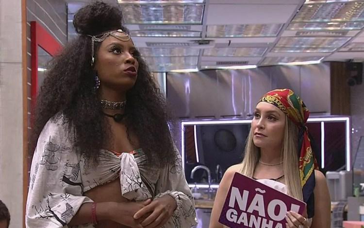 Lumena e Carla Diaz no Jogo da Discórdia do BBB21 (Foto: Reprodução)