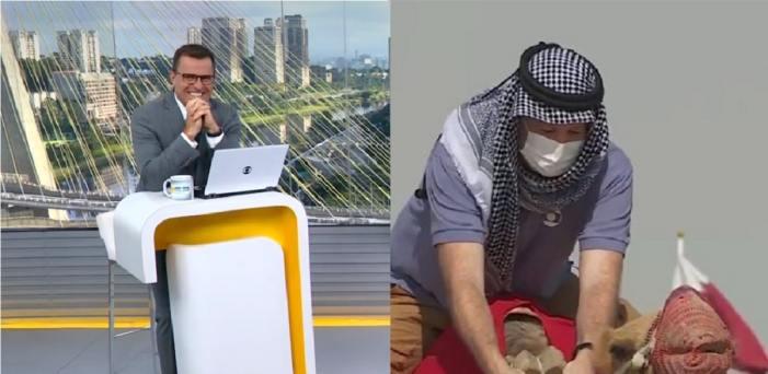 Jornalista da Globo Renato Peters rasgou a calça (Foto: Reprodução)