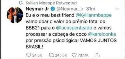 Neymar desmente suposta doação a Lucas do BBB21 (Foto: Reprodução)