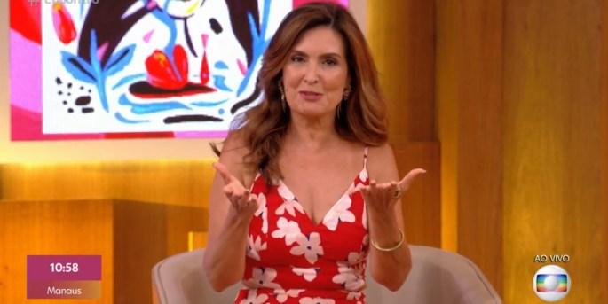 Fátima Bernardes no comando do Encontro; apresentadora acabou flagrada em contradição (Foto: Reprodução/TV Globo)