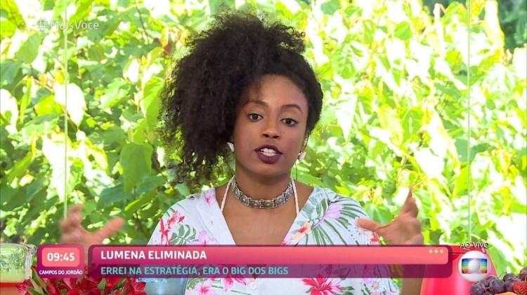 Lumena, eliminada do BBB21, conversa com Ana Maria Braga no Mais Você (Foto: Reprodução)
