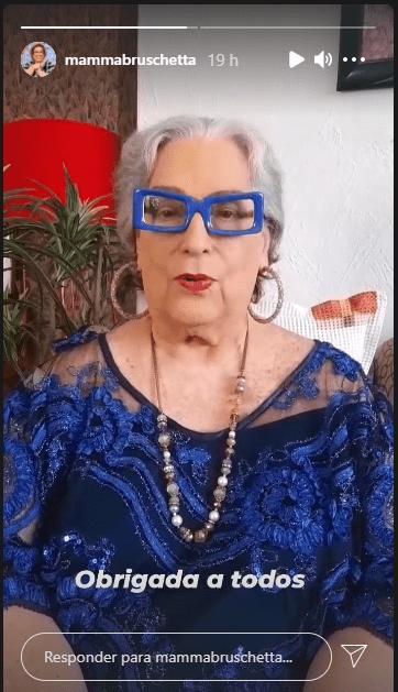 Mamma Bruschetta agradeceu ao público pelas mensagens de carinho que recebeu após a morte do irmão (Foto: Reprodução)