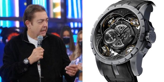 Faustão no programa deste domingo (25/04/2021) e o seu relógio milionário em detalhe (Foto: Reprodução)