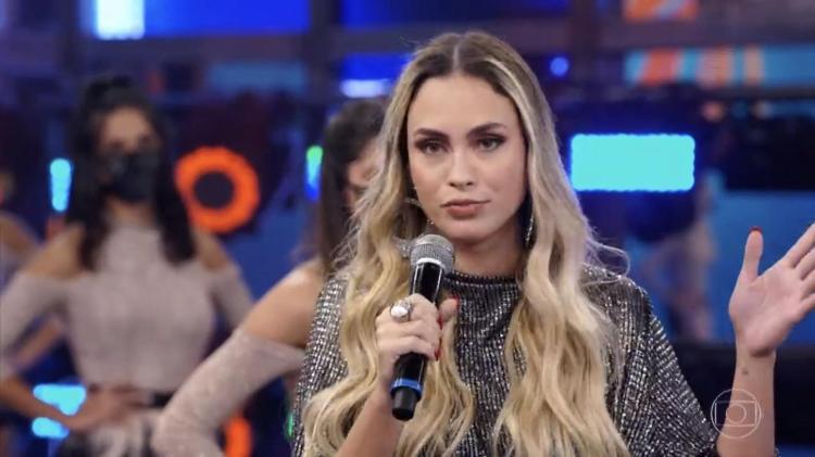 Sarah, eliminada do BBB21, participou do Domingão do Faustão (Foto: Reprodução)