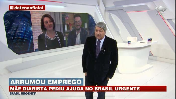 O jornalista Datena na Band com Catia Fonseca (Foto: Reprodução)