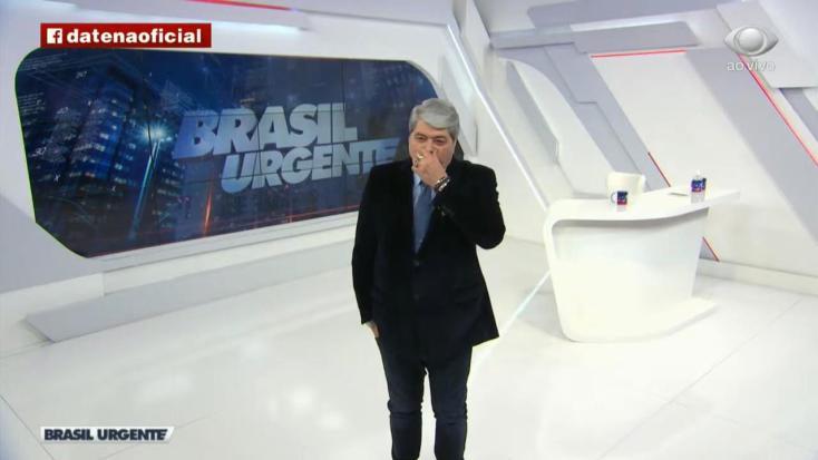 Datena surge triste no Brasil Urgente após internação do filho (Foto: Reprodução)