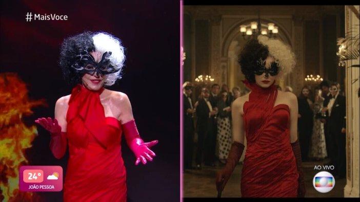 Ana Maria Braga vestida de Cruella no Mais Você. (Foto: Divulgação)