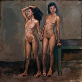 Δύο φίλες, λάδι σε καμβά, 100x100 cm, 2009 Two friend, oil on canvas, 100x100 cm, 2009