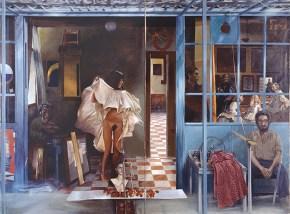 Καφενείο Βερμέερ Ι, ακρυλικό σε καμβά, 122x202 cm, 1976