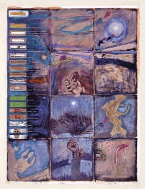 Υπόμνημα χάρτη Αττικής, τέμπερες, παστέλ, λάδι σε καμβά, 200x 150 cm, 1997