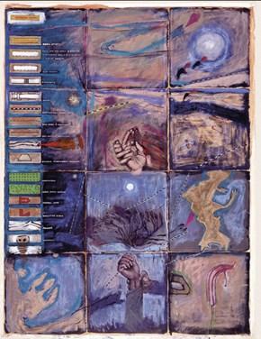 Attica index map, tempera, pastel, oil on canvas 200x150 cm, 1997
