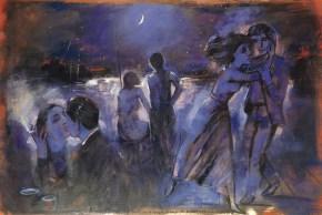 Balthusian monn, oil on canvas 80x30 cm, 1993