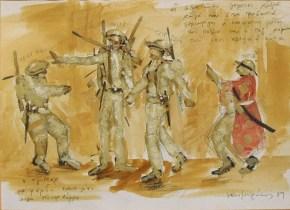 Man is man IV, tempera on paper, 30x40 cm, Art Theatre Karolos Koun, 1989