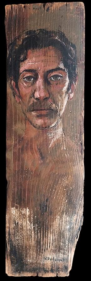 Nikos, oil on wood, 70x25 cm, 1995