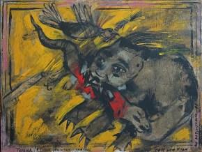 Paper tiger, oil on wood, 30x40 cm 1990