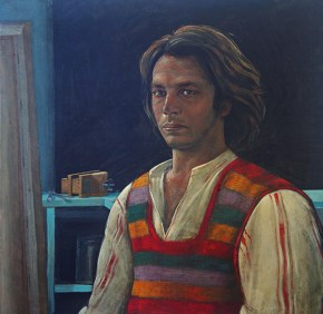 Self-portrait, acrylic on canvas, 60x60 cm 1975