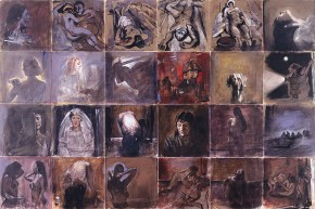 Snapshots, one second, tempera and oil on canvas, 150x300 cm, 1996