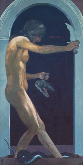 The merciful one, oil on canvas, 140x75 cm, 1975