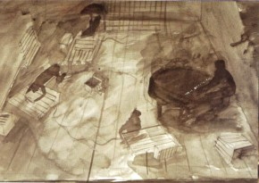 Transit ΙII, acrylic on paper, Arth Theatre Karolos Koun, 2005
