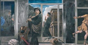 Two musicians, oil on canvas, 90 x 180 cm, 1997