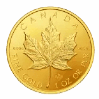 gold maple leaf coin with hologram and radial lines