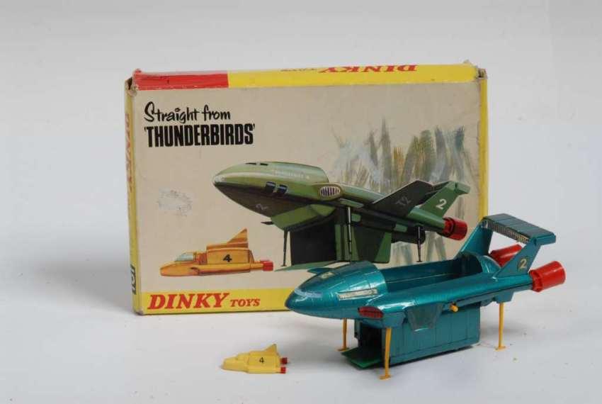 The famous blue Dinky Thunderbird 2 toys