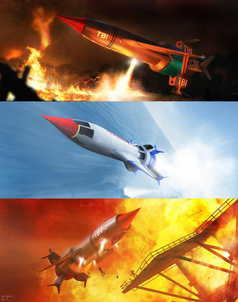 The Redesign of Thunderbird 1 through the ages. (art by Chris Thompson)