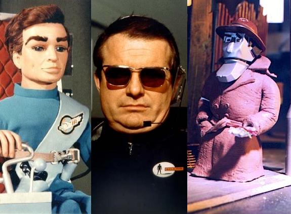 Shane Rimmer as Scott Tracy (left), Lt. Bill Johnson (centre) and Dick Spanner (right)