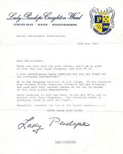 1960s letter from Lady Penelope