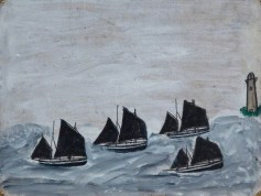 Alfred Wallis, Four Boats by a Lighthouse