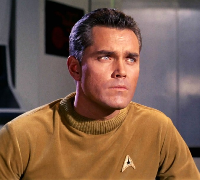 """Jeffrey Hunter as Captain Christopher Pike in """"The Cage"""""""