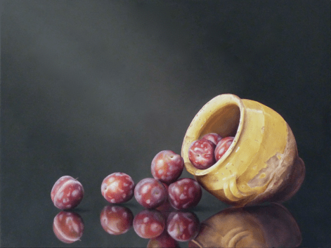 Tilted Pot with Spilling Plums
