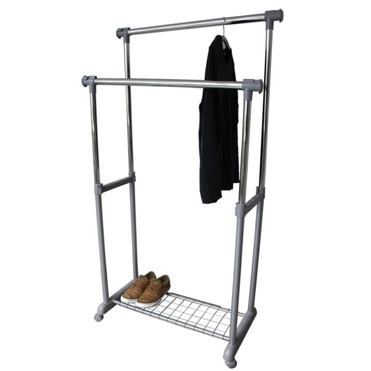 double clothes rack with two rails clothes rack on wheels