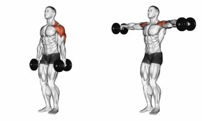 SIDE lateral dumbeel raise BOTH ARMS