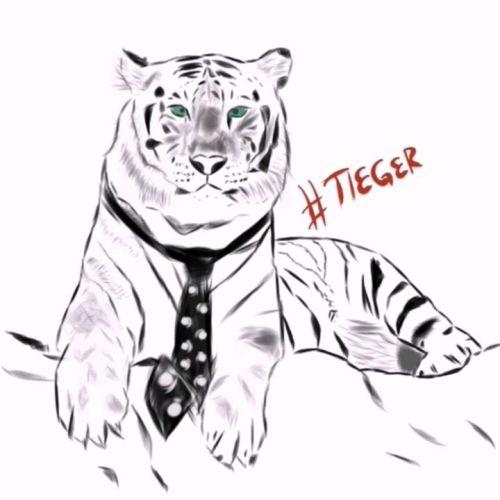 Der Tiger mit Krawatte, tuch, weisser tiger