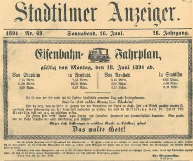Fahrplan im Stadtilmer Anzeiger vom 16.06.1894