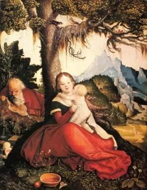 400 Jahre vor dem Siegeszug des Stacheldrahts, 500 Jahre vor Orban – Hans Baldung: Ruhe auf der Flucht nach Ägypten (um 1515), Quelle: http://www.wikiart.org
