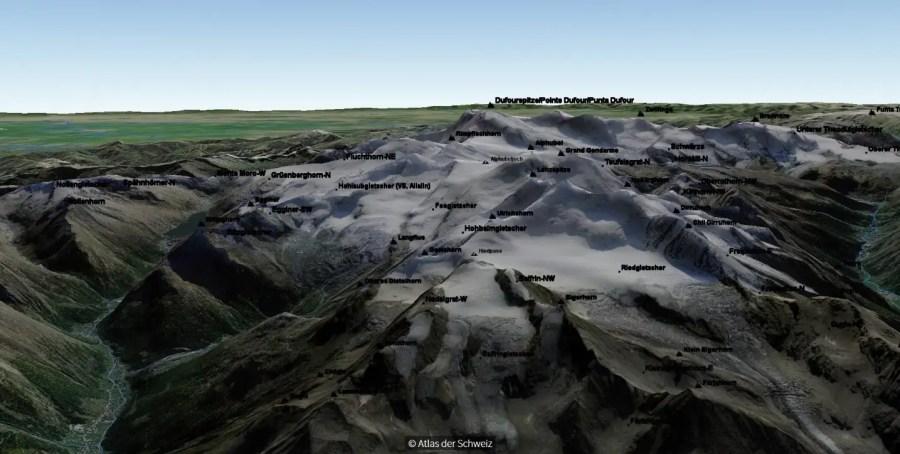 Screenshot aus dem neuen Online-Atlas der Schweiz. Zu sehen wiederum die Mischabel-Gruppe mit der Dufourspitze im Hintergrund.