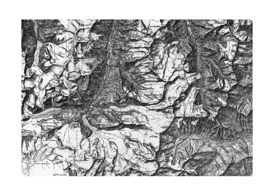 """Detail der Dufourkarte. Zu sehen sind u. a., oben-mitte die Mischabelgruppe (wie auf Luftbild), unten-mitte die """"Höchste Spitze"""", die 1863 zu Ehren des Kartografen zur Dufourspitze umbenannt werden sollte. Das Relief ist mittels Schattenschraffen plastisch dargestellt; Quelle: map.geo.admin.ch"""