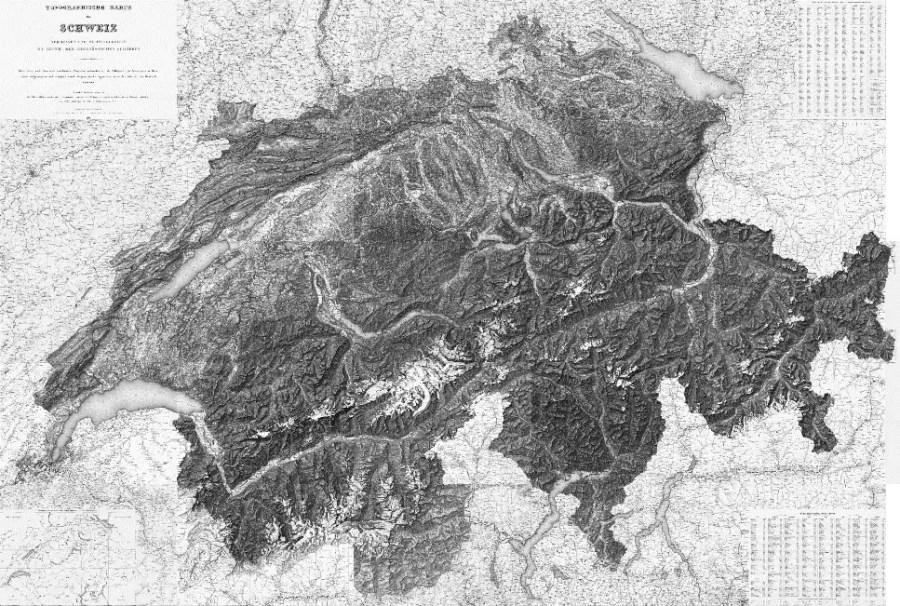 Erstausgabe der aus den Einzelblättern zusammengesetzten Dufour-Karte im Massstab 1:100'000; Quelle: map.geo.admin.ch