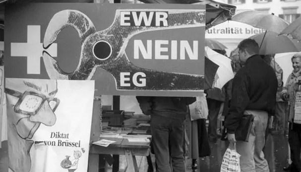 Mobilisierung der SVP gegen den EWR-Beitritt der Schweiz, 1992; Quelle: stadtwanderer.net