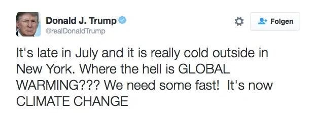 Donald Trump twittert zum Klima; Quelle: twitter.com